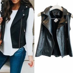 Black Faux Leather Moto Jacket Vest Size S